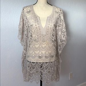 Chico's L/XL Woven Embellished Beigh Poncho